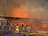 Firefighters at commercial structure