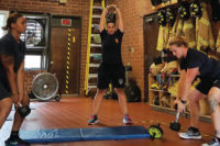 Firefighters working out